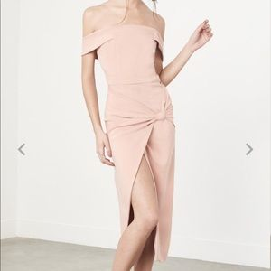 Lavish Alice Nude High Slit Off Shoulder Dress XS